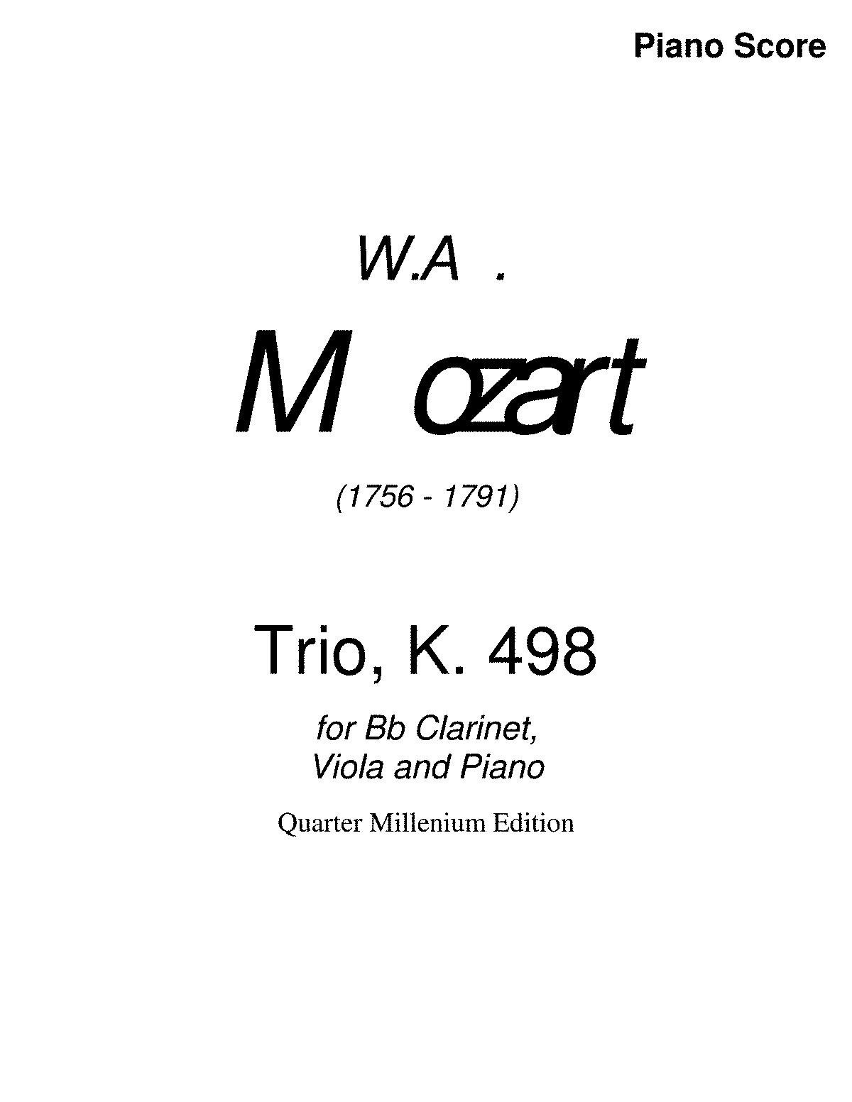 Trio in E-flat major, K.498 (Mozart, Wolfgang Amadeus