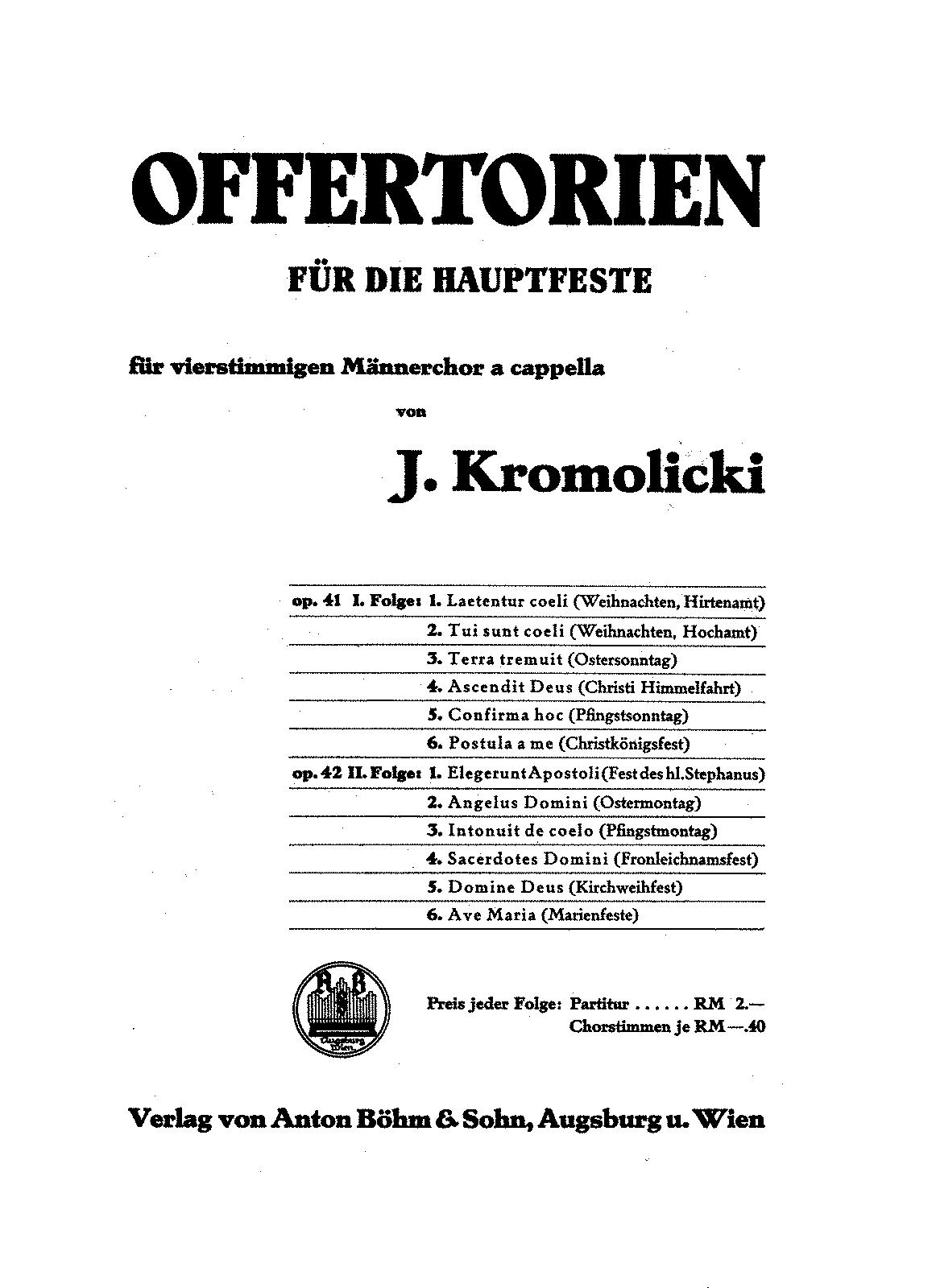 Offertorien für die Hauptfeste, Op.42 (Kromolicki, Joseph
