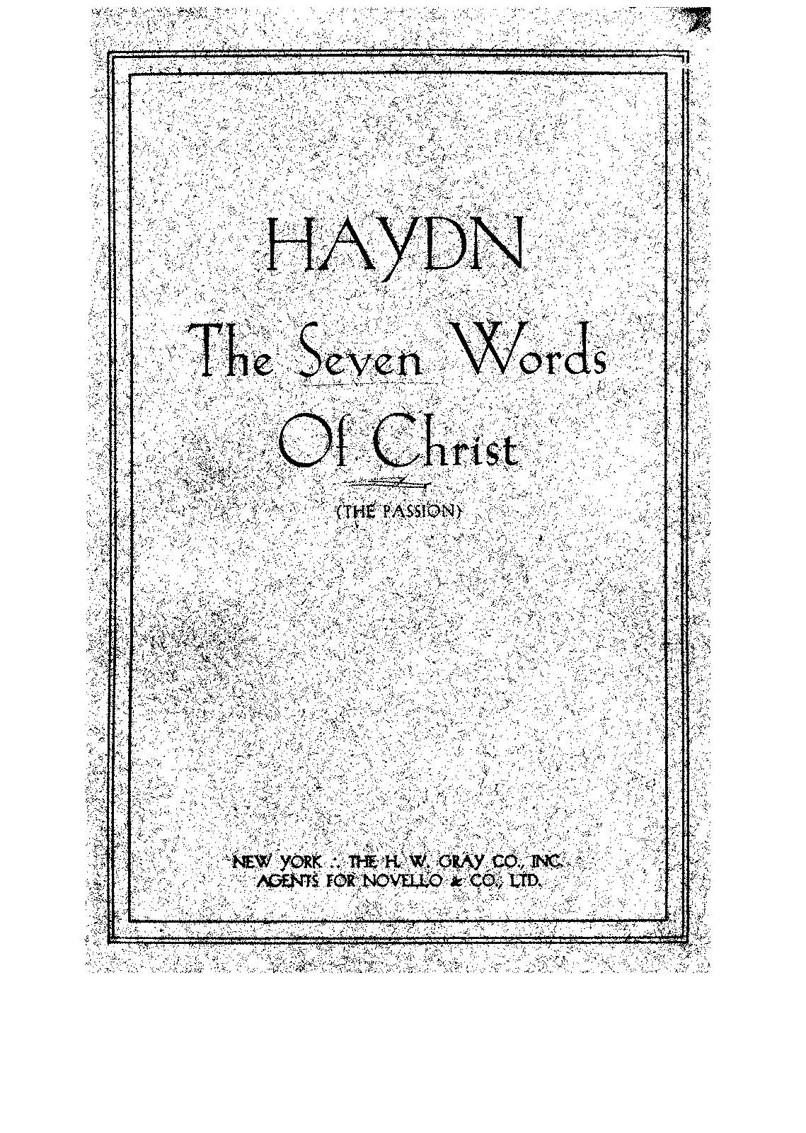 Die Worte des Erlösers am Kreuze, Hob.XX:2 (Haydn, Joseph
