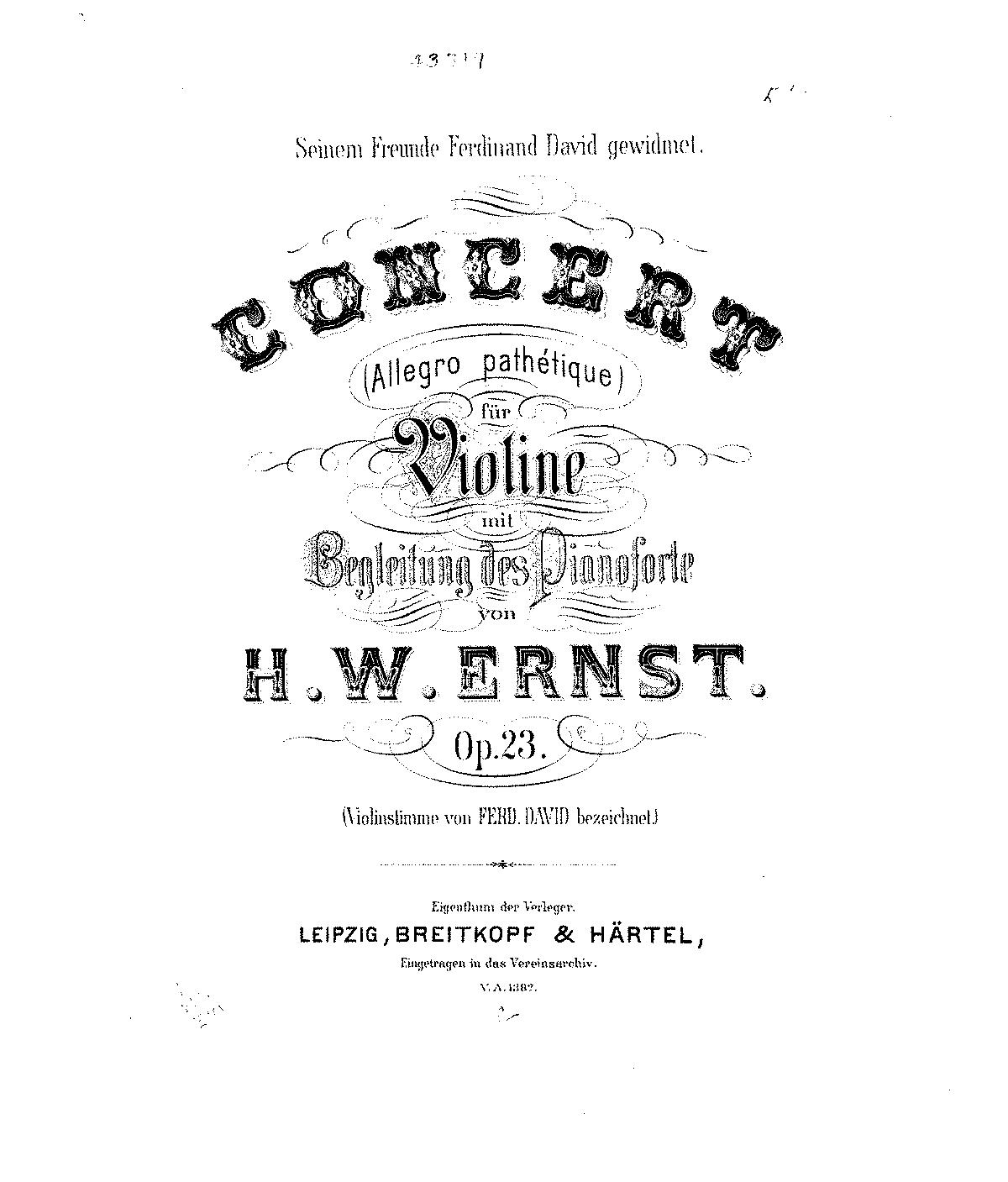 Violin Concerto 'Pathétique', Op.23 (Ernst, Heinrich