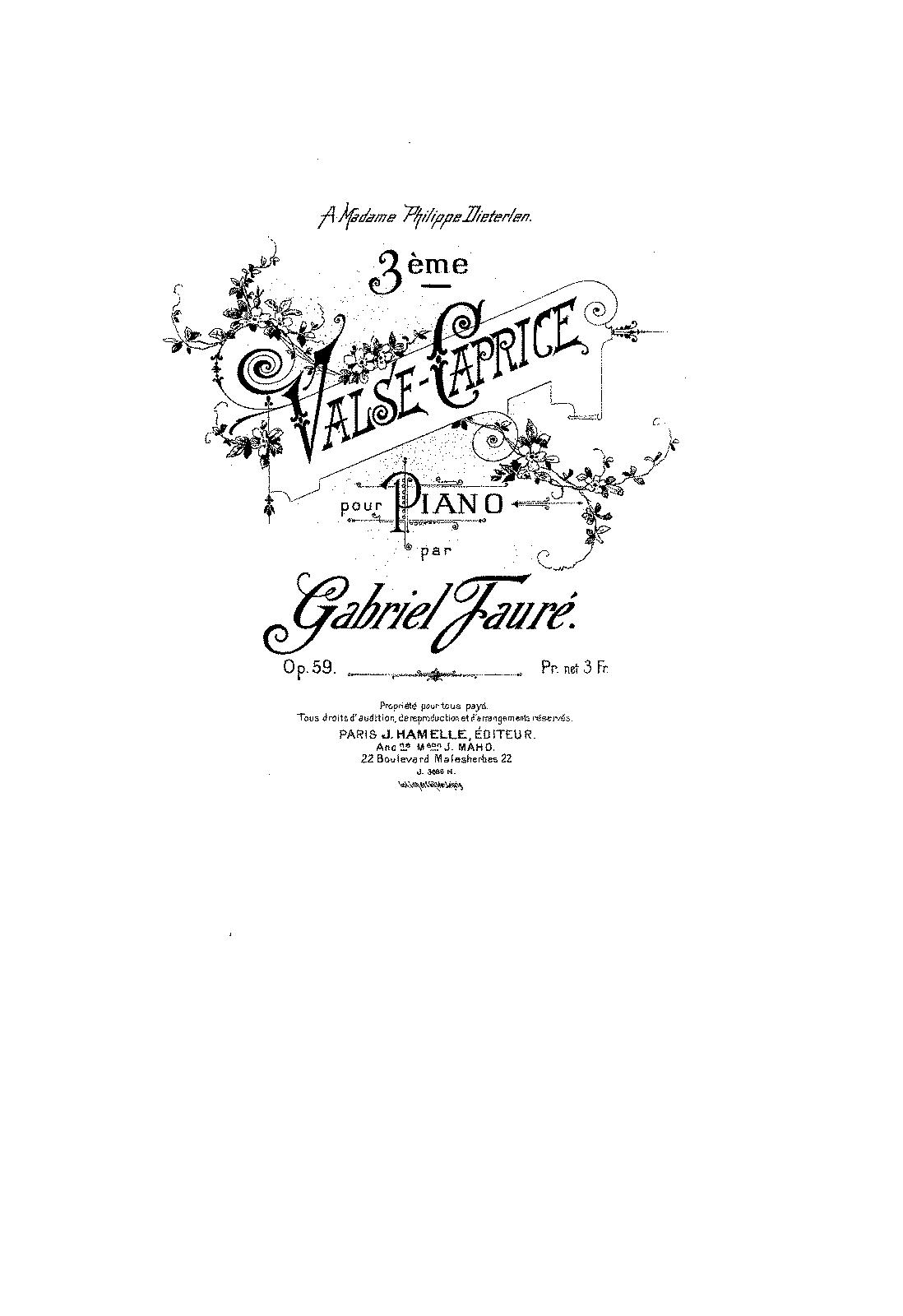 Valse Caprice No 3 Op 59 Faure Gabriel