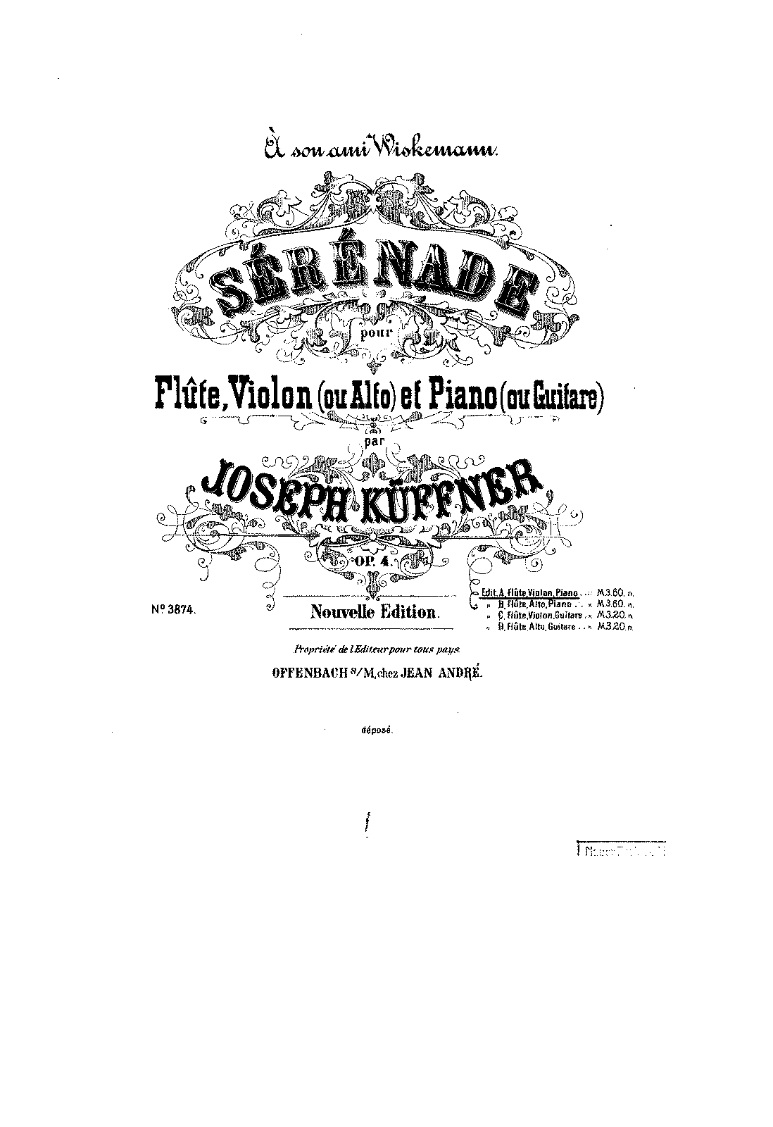 Serenade for Flute, Violin and Piano, Op.4 (Küffner