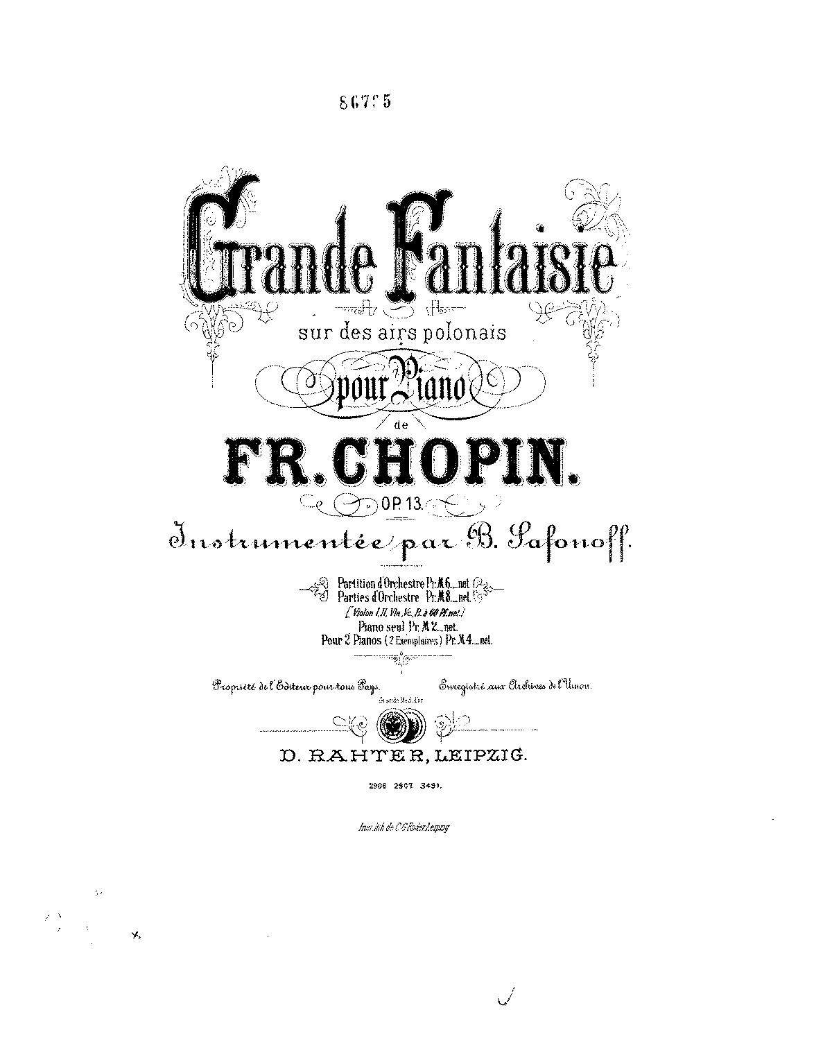 Grande fantaisie sur des airs polonais, Op.13 (Chopin