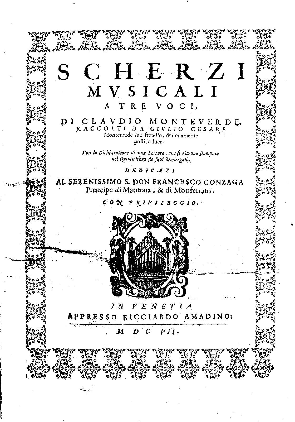 Monteverdi, Scherzi musicali a 3
