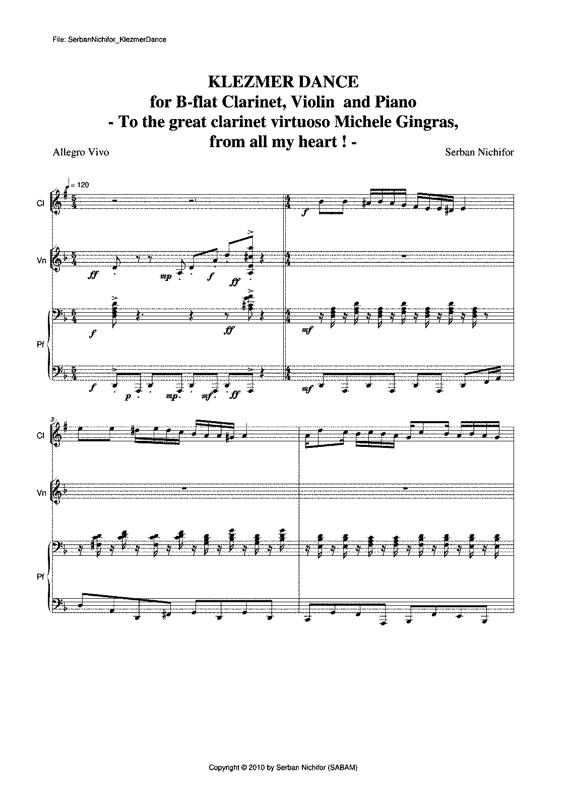 Free Sheet Music For Clarinet Violin And Piano