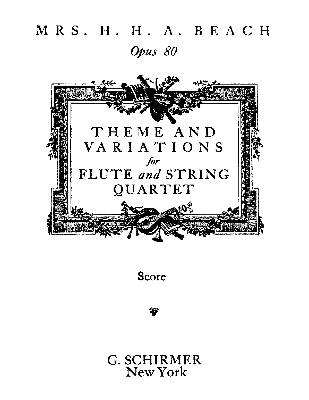 Theme and Variations for Flute and String Quartet, Op.80