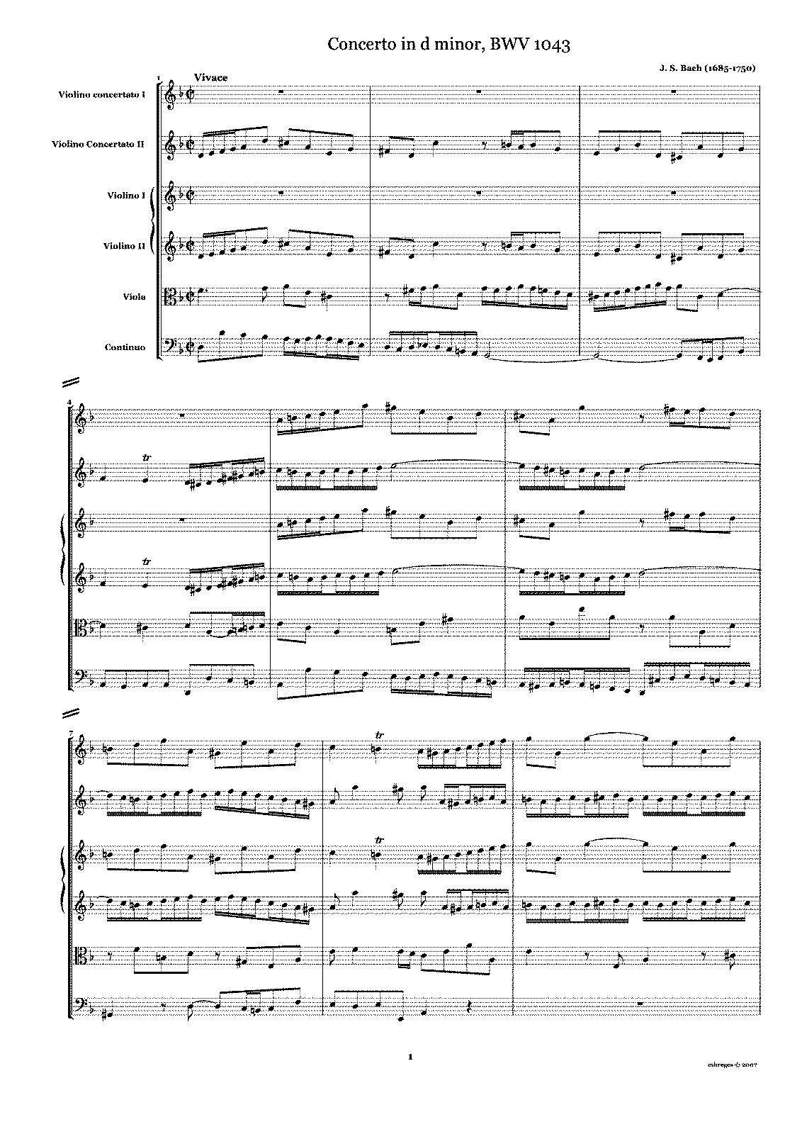 Concerto for 2 Violins in D minor, BWV 1043 (Bach, Johann