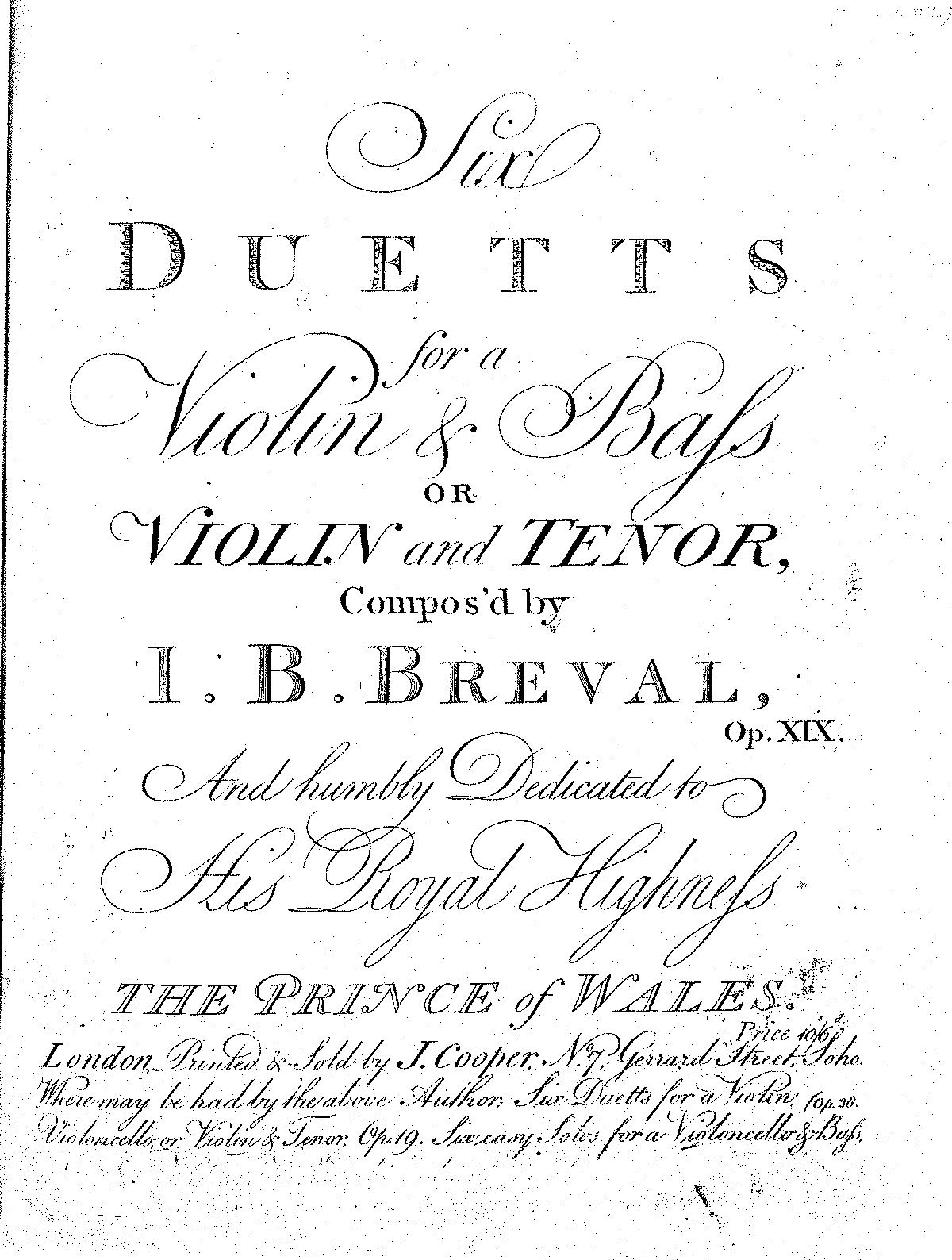 6 Duets for Violin and Viola, Op.19 (Bréval, Jean-Baptiste