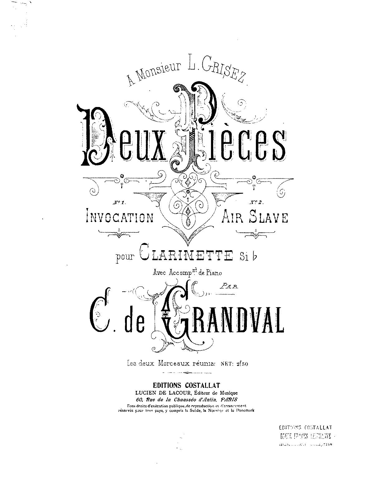 2 Pieces for Clarinet and Piano (Grandval, Clémence de