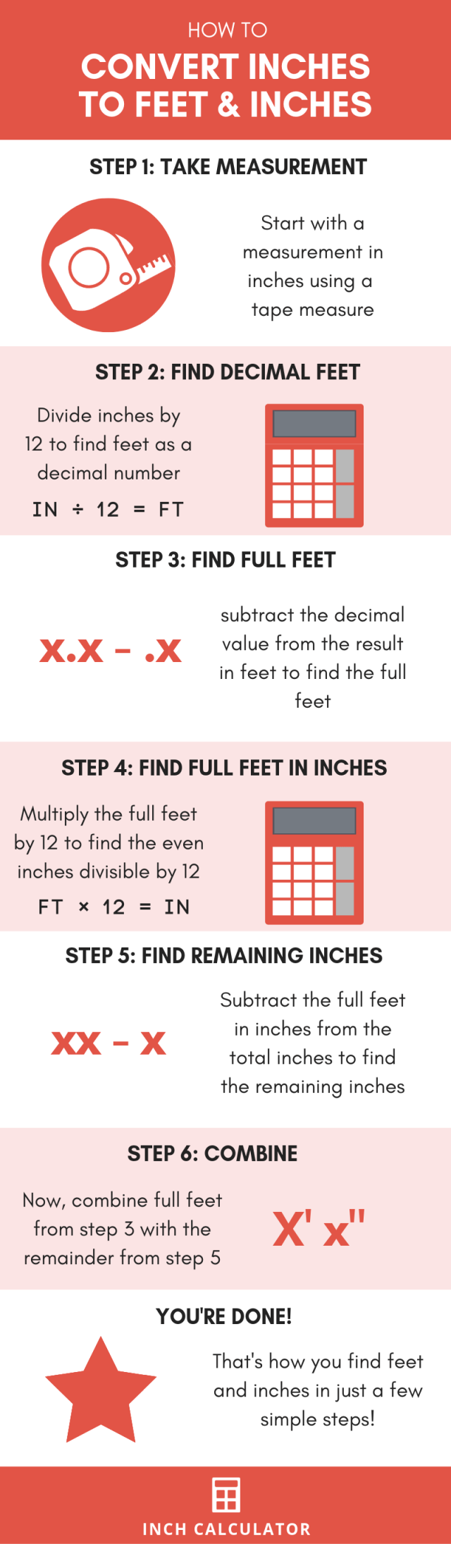 Inches to Feet Conversion Calculator (in to ft) - Inch Calculator