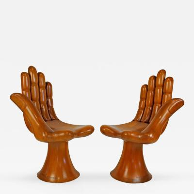 wood hand chair leather dining chairs with arms pedro friedeberg furniture art incollect natural mahogany right and left pair of settee