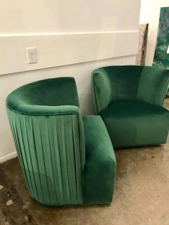 green velvet swivel chair nuna high a rudin 20th century modern pr of emerald lounge chairs 356956