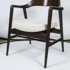 Wh Gunlocke Chair Glass Table With 4 Chairs W H Co Wood Framed Arm Linen Seat 246345