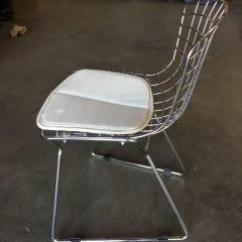 Bertoia Side Chair Dining Room Chairs Modern Harry Chrome Childrens With White Seat Cushion By Knoll Pair 588541