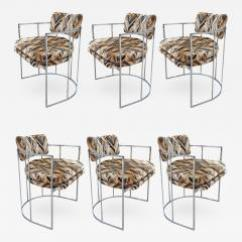 Milo Baughman Dining Chairs Bedroom Chair Name Six Mid Century Chrome 556099