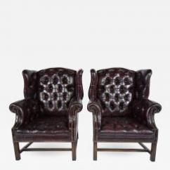 Leather Wingback Chairs Office Chair Air Cylinder Repair Pair Of Chesterfield Tufted 679502
