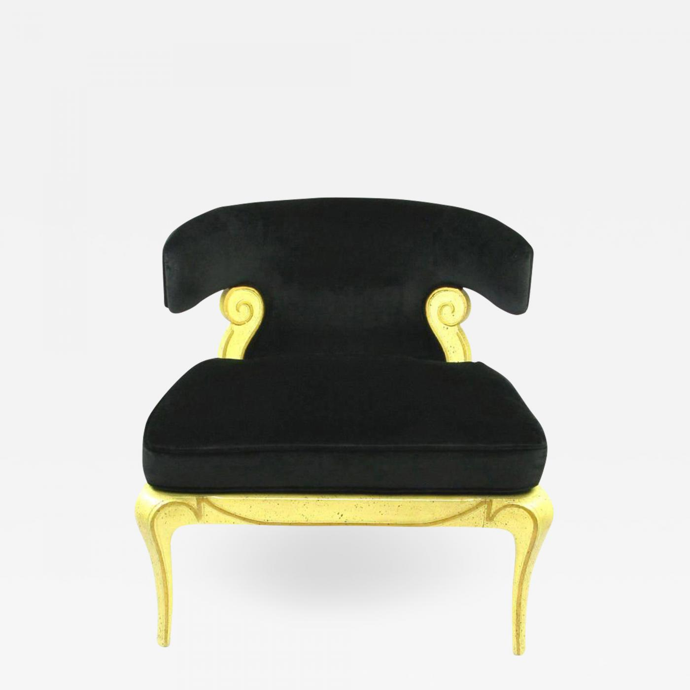 Velvet Slipper Chair Grosfeld House Grosfeld House Sculptural Black Velvet Slipper Chair
