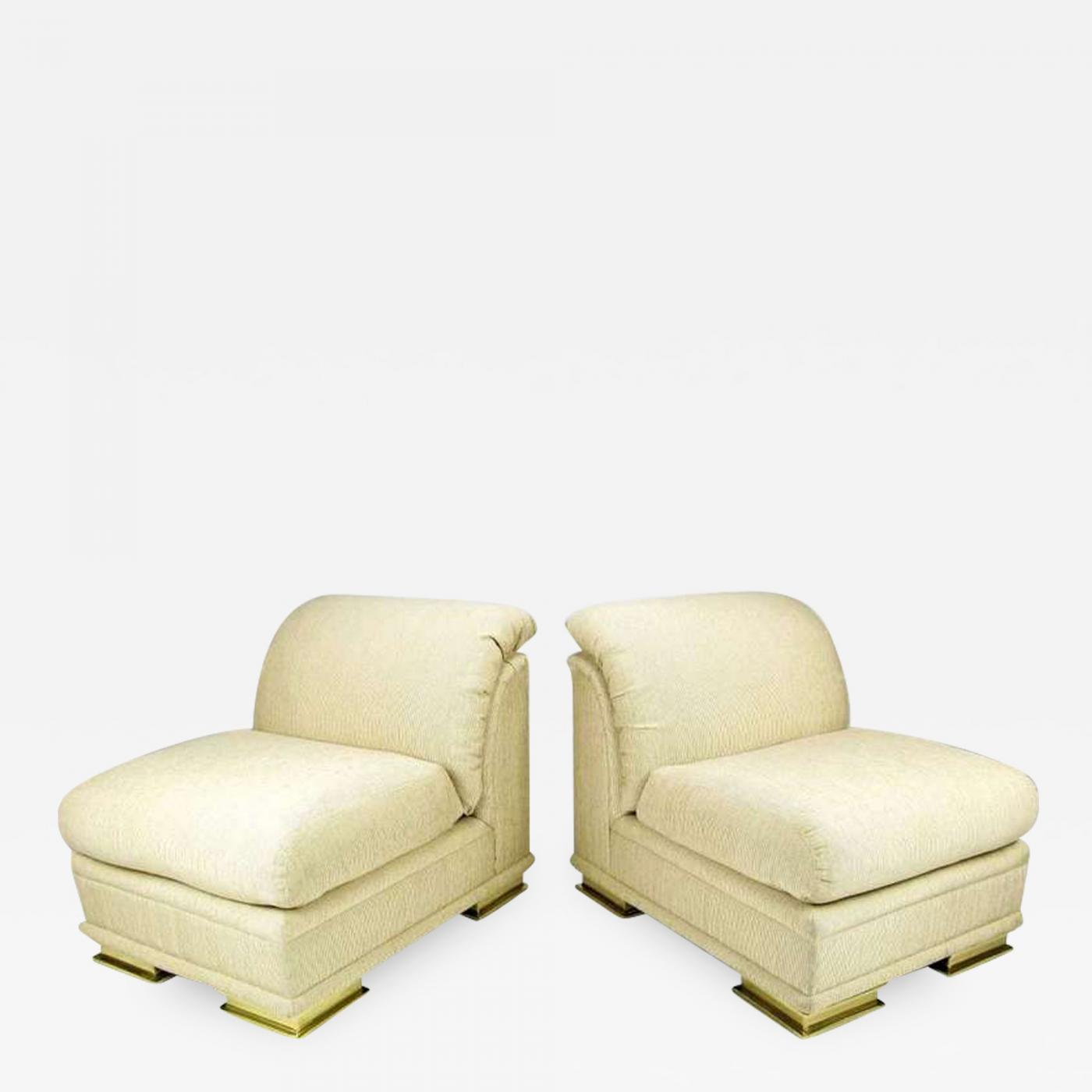 Henredon Chair Henredon Furniture Pair Of Henredon Deco Revival Slipper Chairs In Taupe Silk And Brass