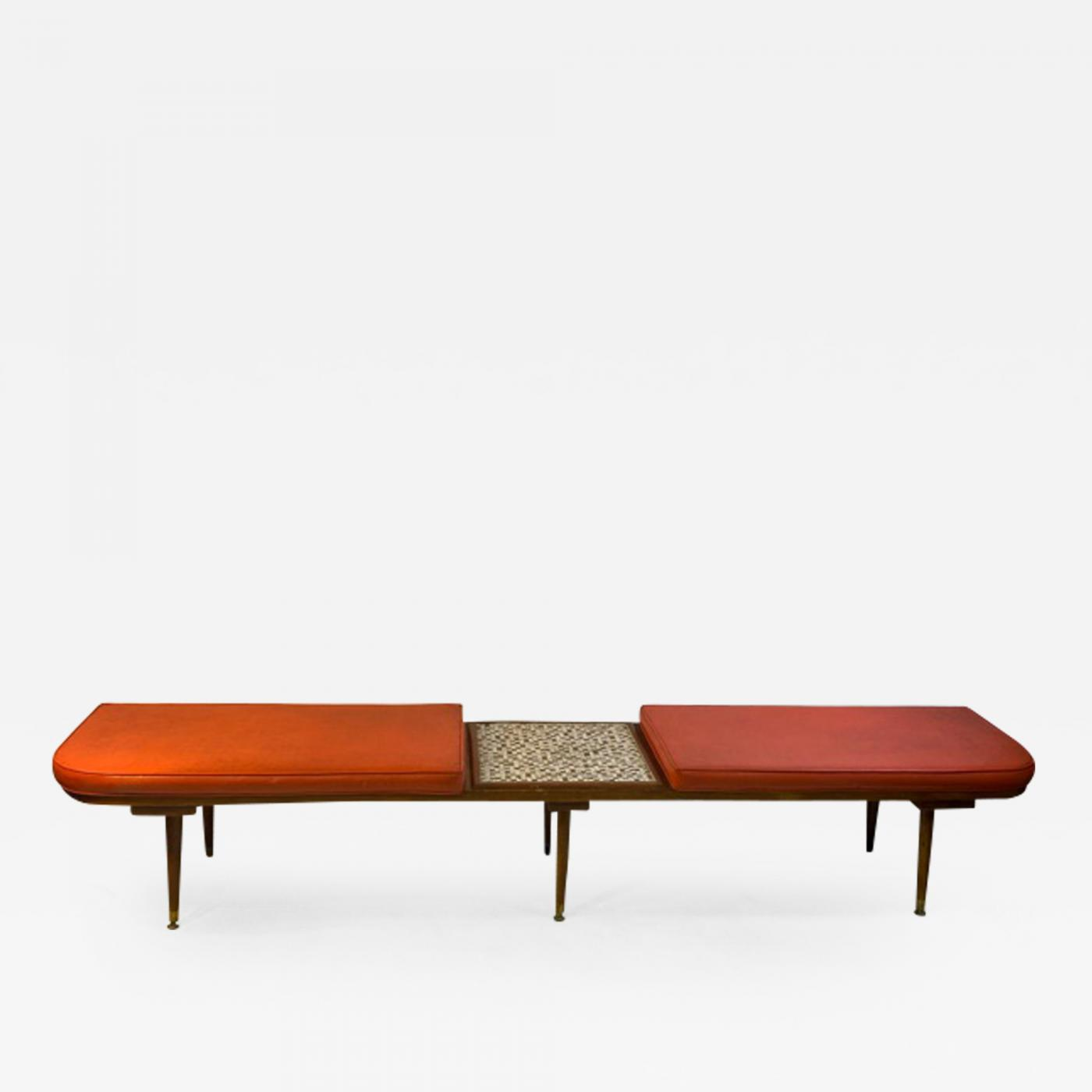 hohenberg original mid century modern bench with attached tile coffee table by hohenberg