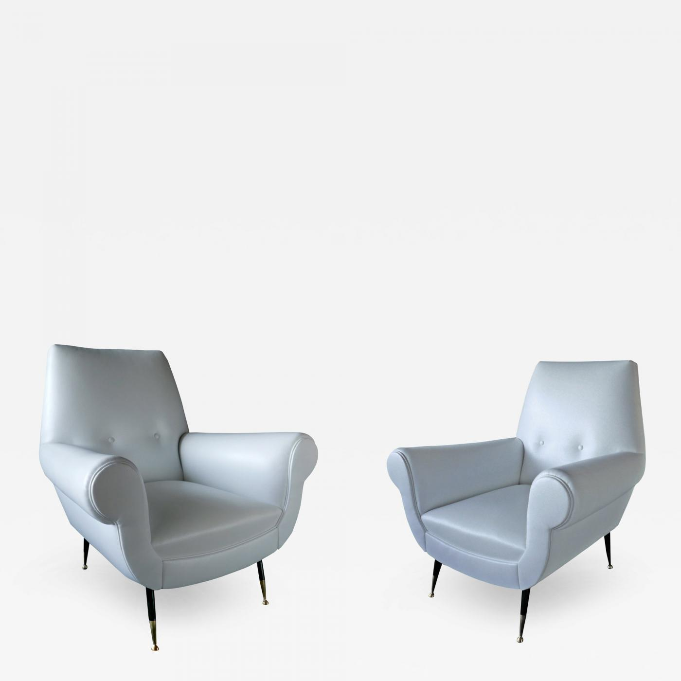 Modern Leather Chairs Minotti Pair Of Italian Modern Leather And Brass Lounge Chairs
