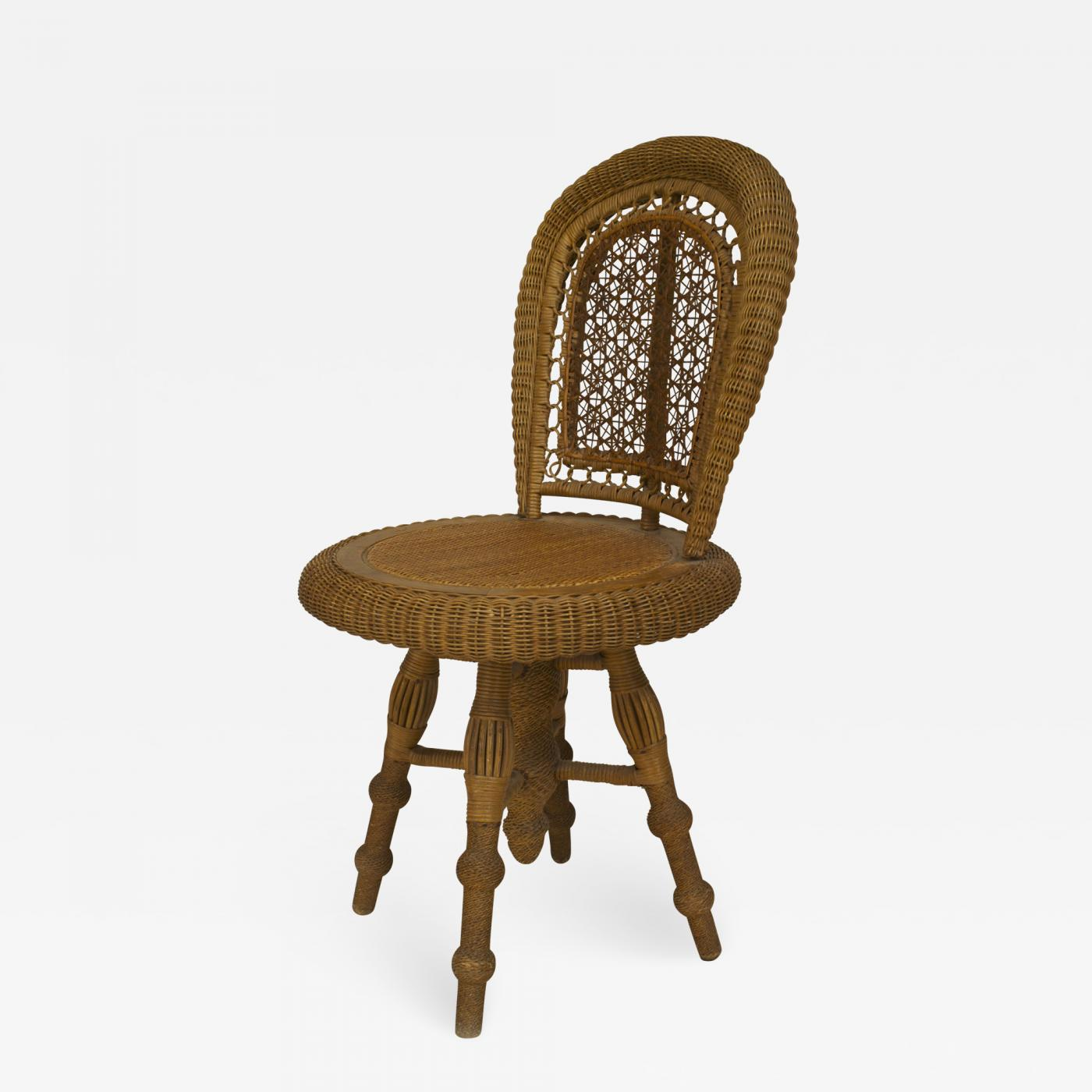 Wicker Side Chair Wakefield Rattan Co American Victorian Natural Wicker