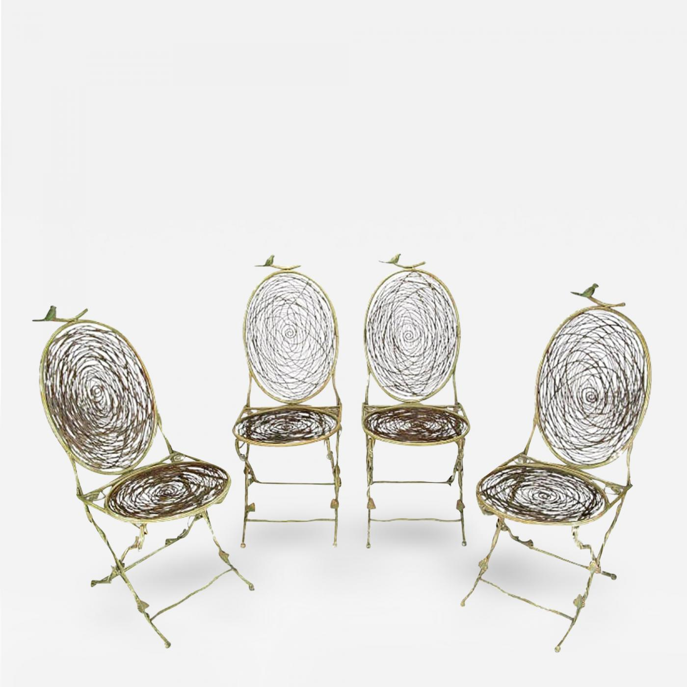 Bird Nest Chair Four Iron Faux Bois Folding Chairs With Bird Nest Seats And Backs