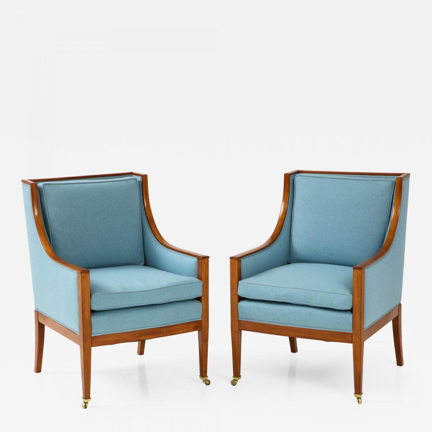 Upholstered Arm Chairs A Pair Of Swedish Mahogany Upholstered Armchairs Circa 1930