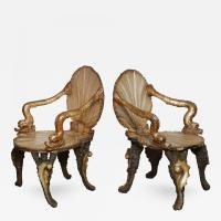 A Pair of Venetian Baroque Style Silvered and Carved