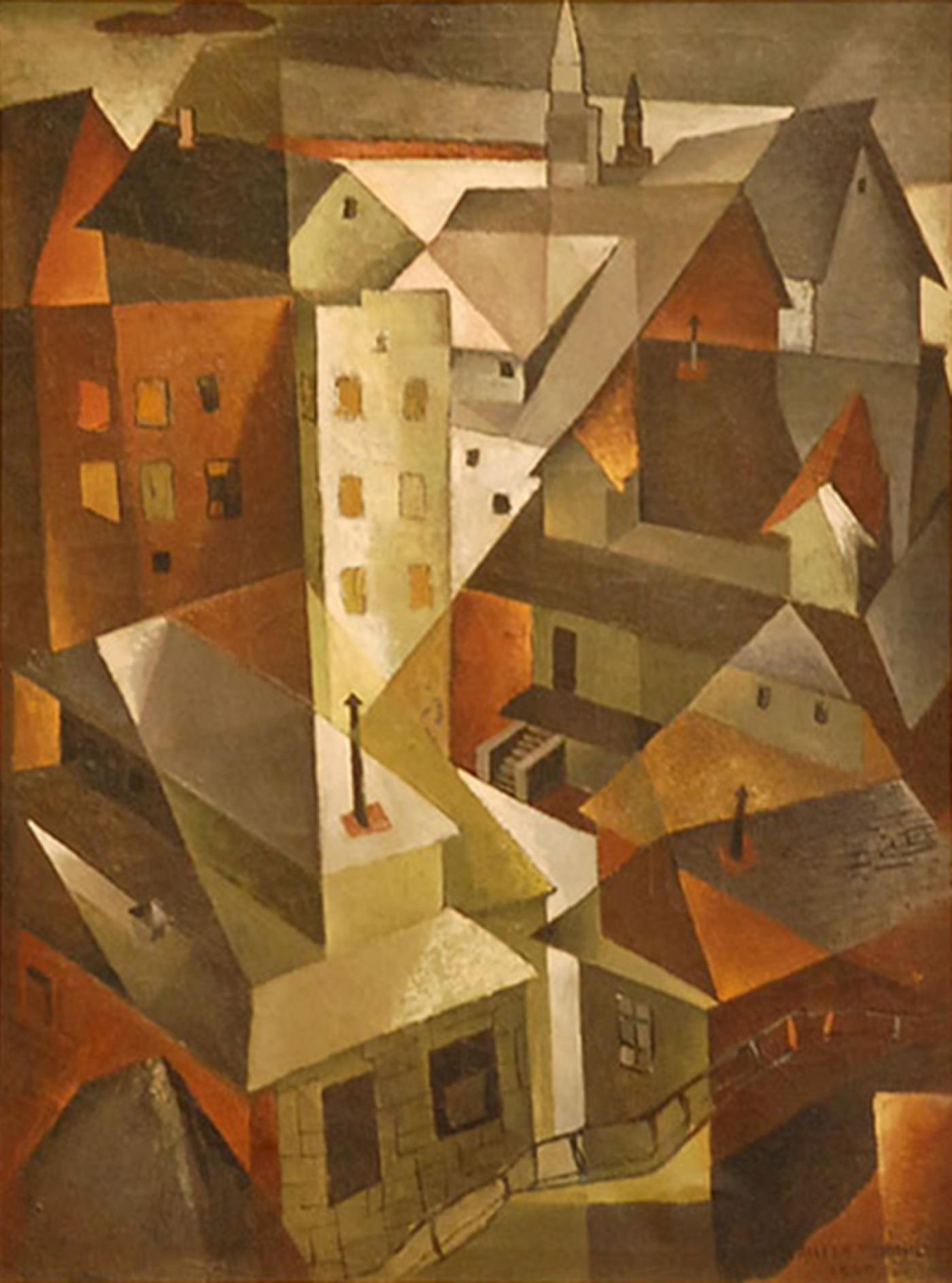 Aileen Worthley  Cubist Oil Painting Roof Tops by