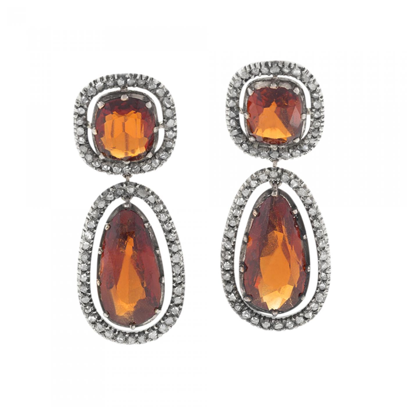 Antique Hessonite Garnet and Diamond Earrings