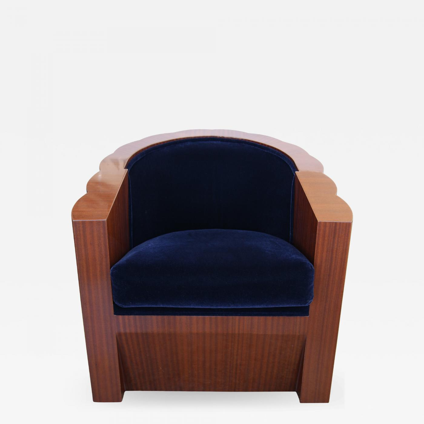 art deco style club chairs steel chair properties in mahogany wood and blue mohair listings furniture seating
