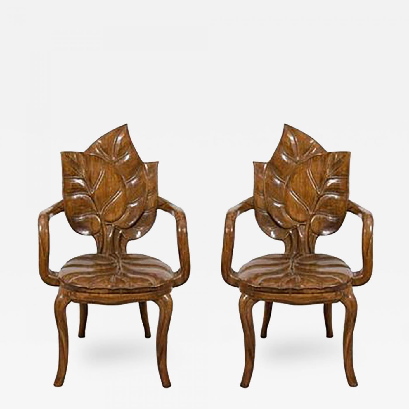 Beautiful Chairs Beautiful Pair Of Sculptural Carved Leaf Motif Armchairs Or Side Chairs