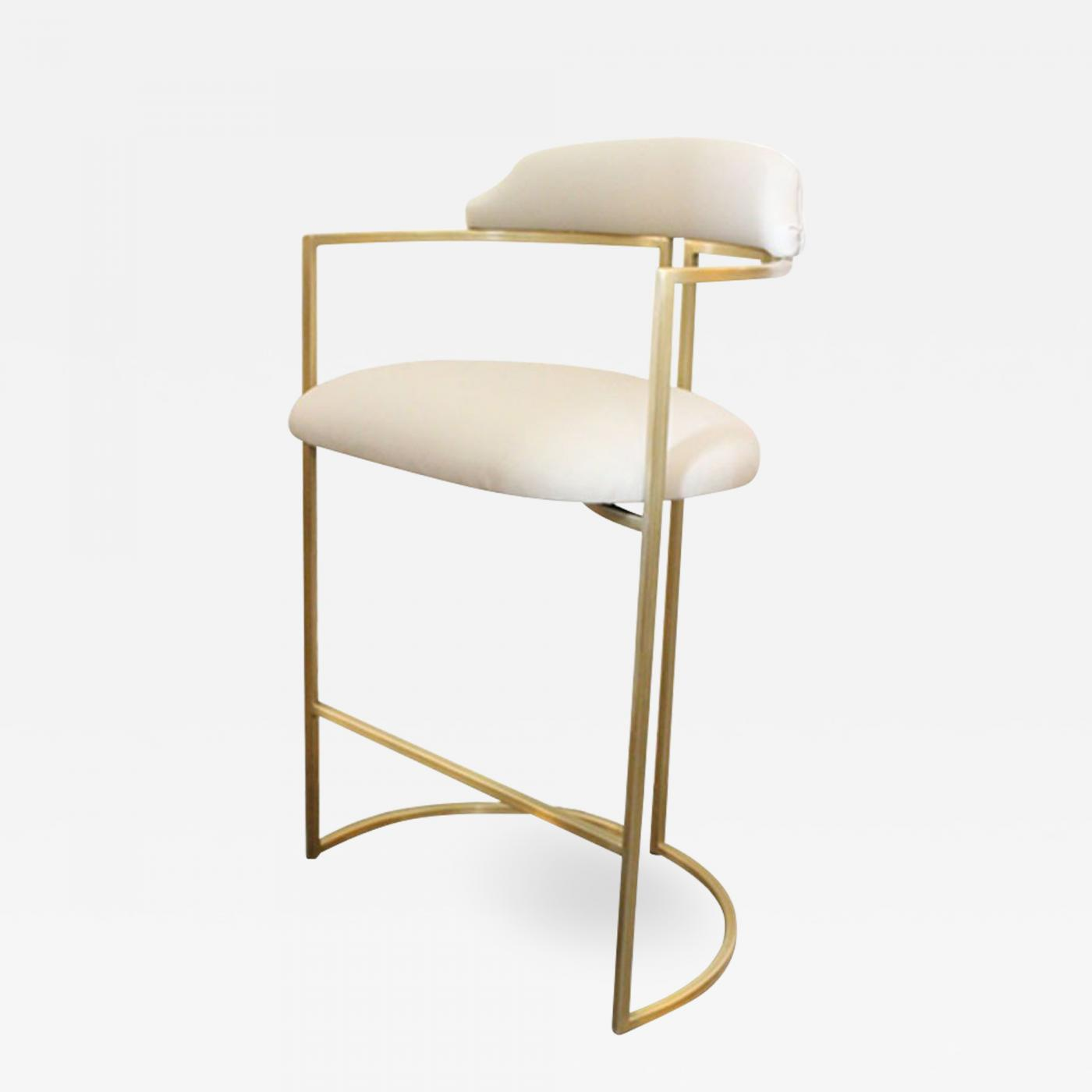 Upholstered Bar Chairs Again Again Custom Brass Bar Stools Upholstered In White Leather