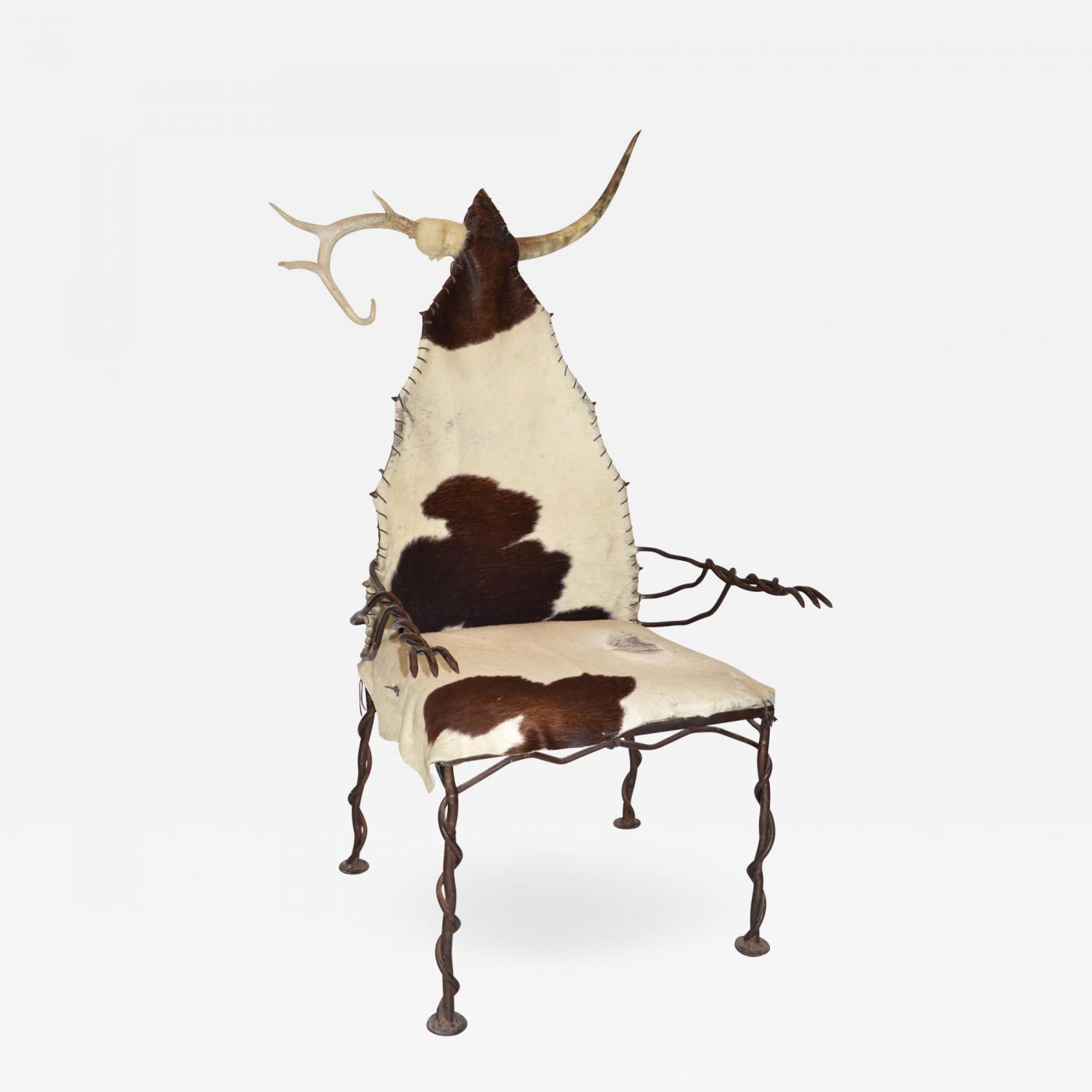 Cow Hide Chair Chieftan Chair In Wrought Iron Horn Antler And Cow Hide Unique
