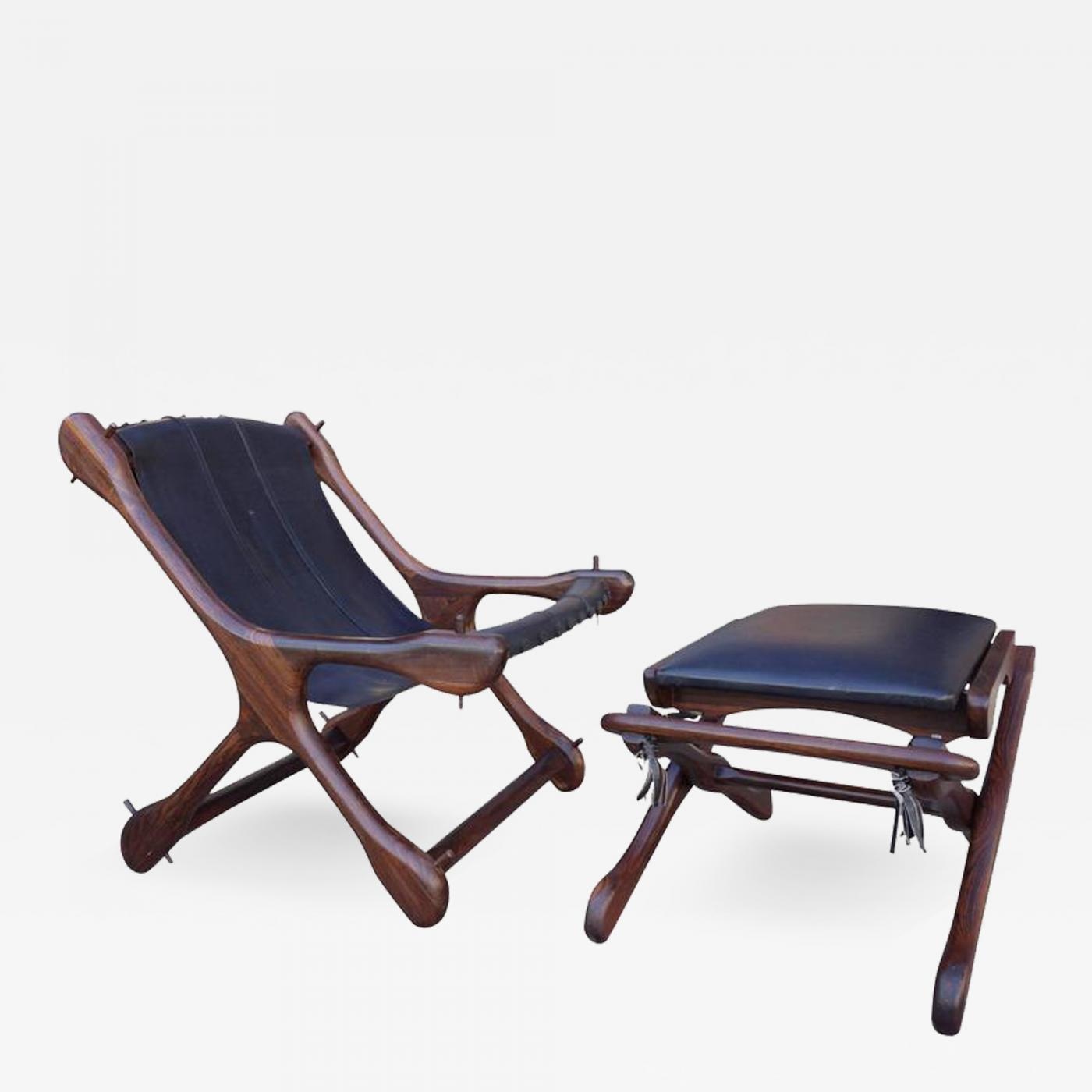 leather sling chairs dining room chair covers au don shoemaker mid century and ottoman in rosewood