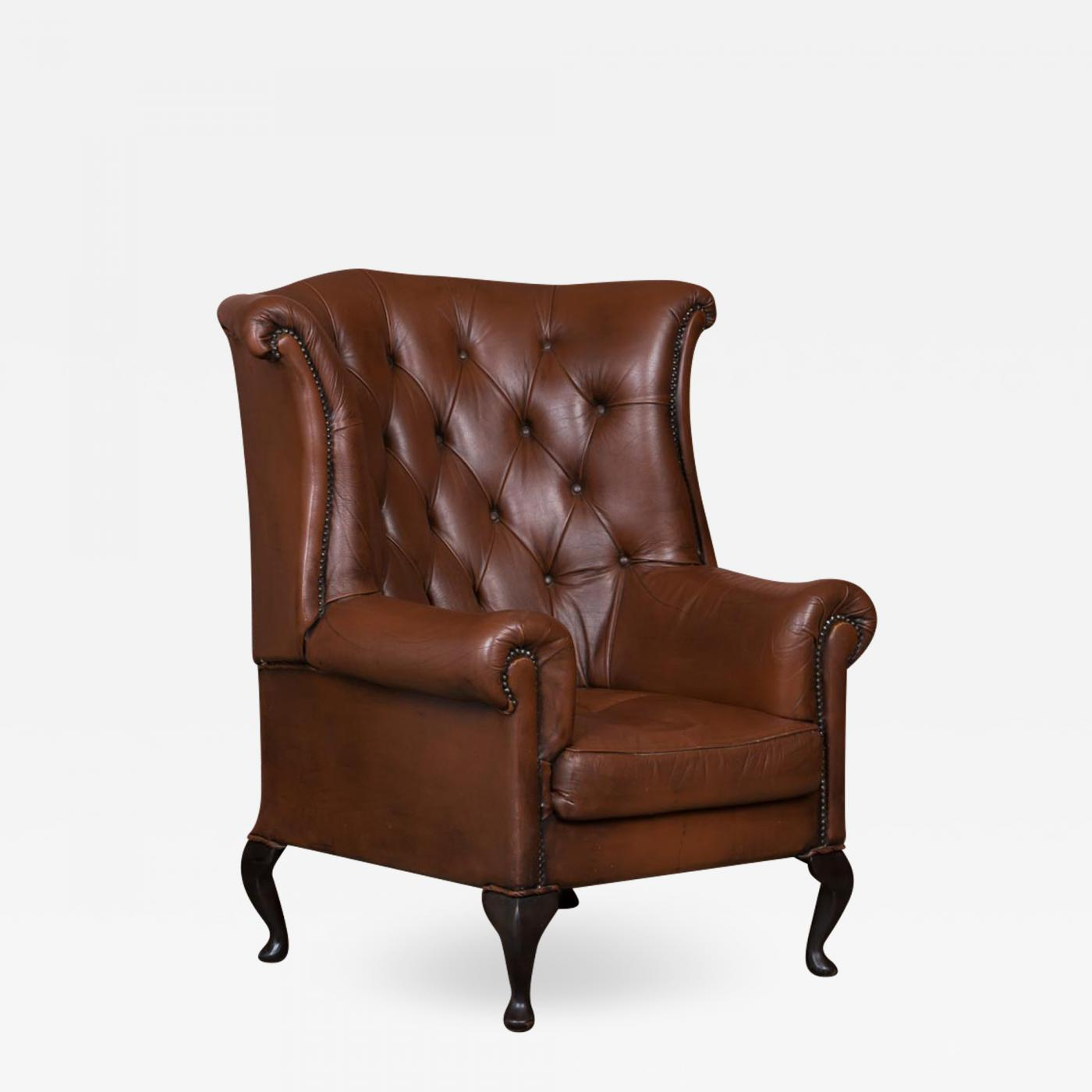 Brown Leather Wingback Chair Early 20th Century Danish Brown Leather Wing Back Chair