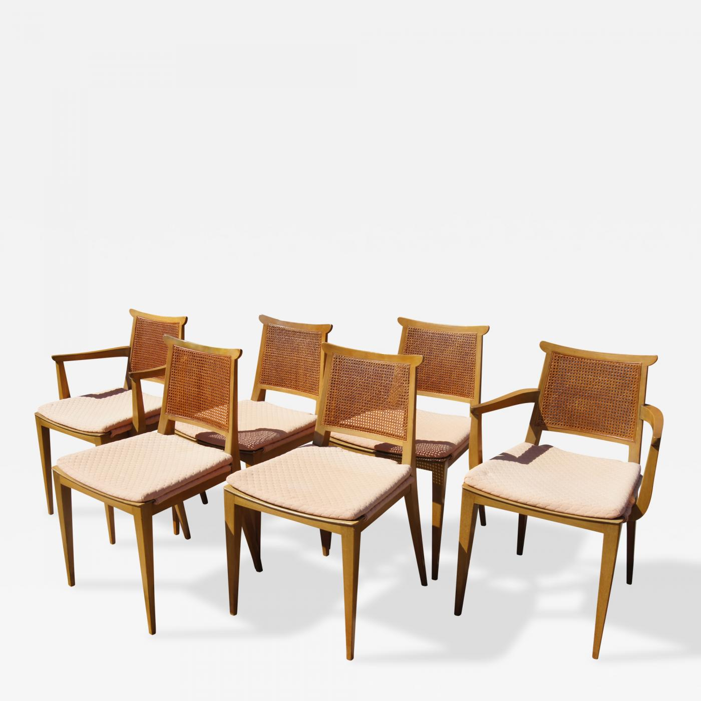 dining chairs with caning coleman beach chair set of six cane by edward wormley for dunbar