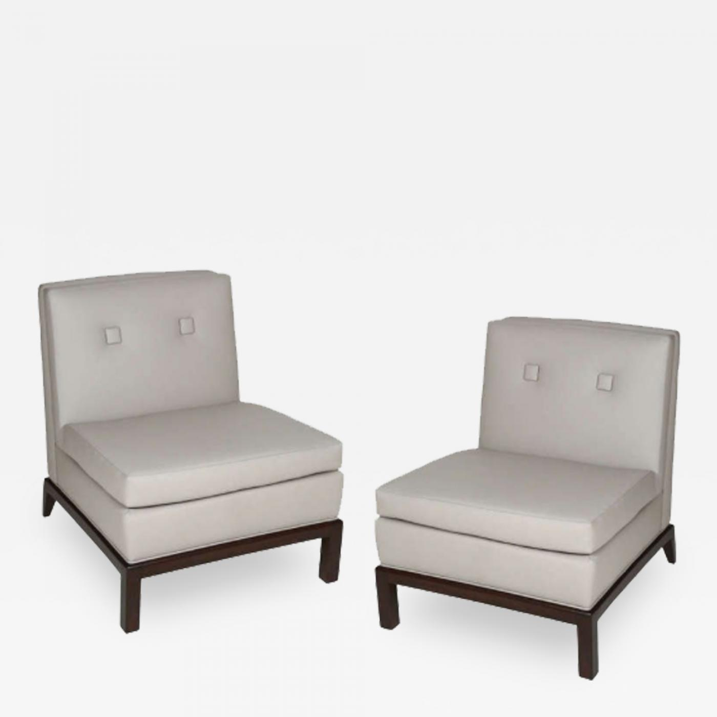 upholstered slipper chair plastic stool malaysia pair of custom leather chairs by everett sebring