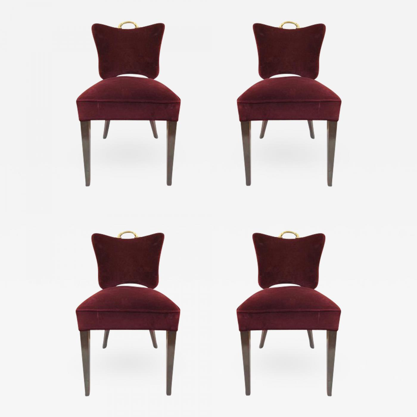 Art Deco Dining Chairs Four Art Deco Dining Chairs In Velvet Upholstery