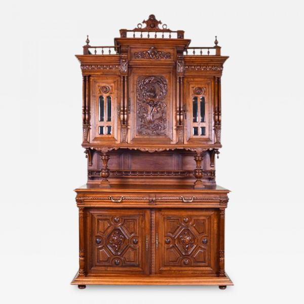 French 19th Century Henry Ii Renaissance Revival Walnut Buffet