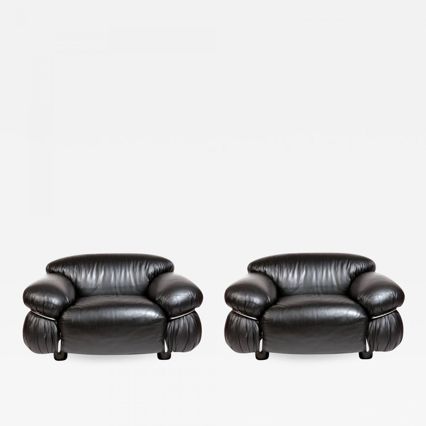 Black Leather Lounge Chair Gianfranco Frattini Pair Of Black Leather Lounge Chair By Gianfranco Frattini