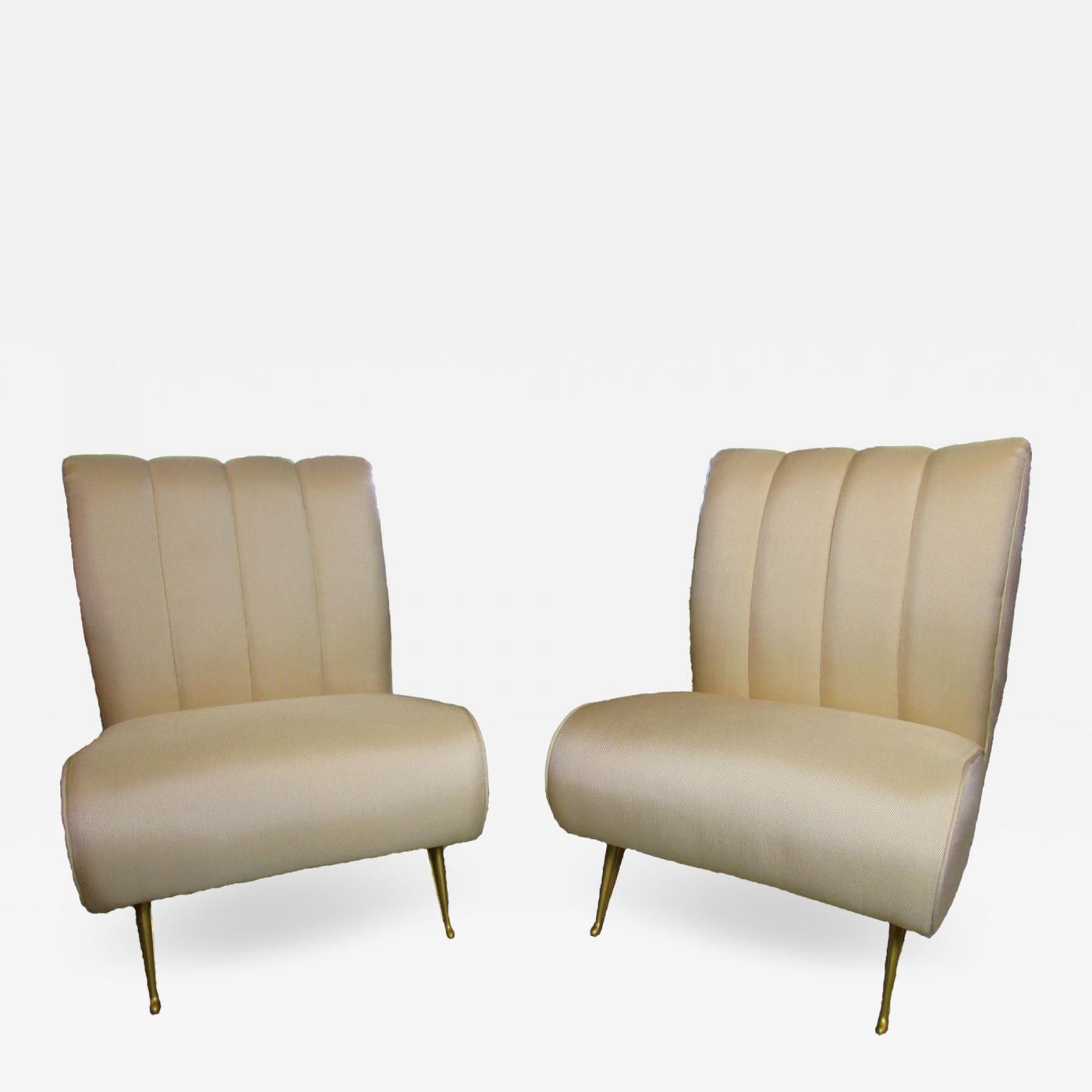 upholstered slipper chair plywood lounge gio ponti pair of chairs