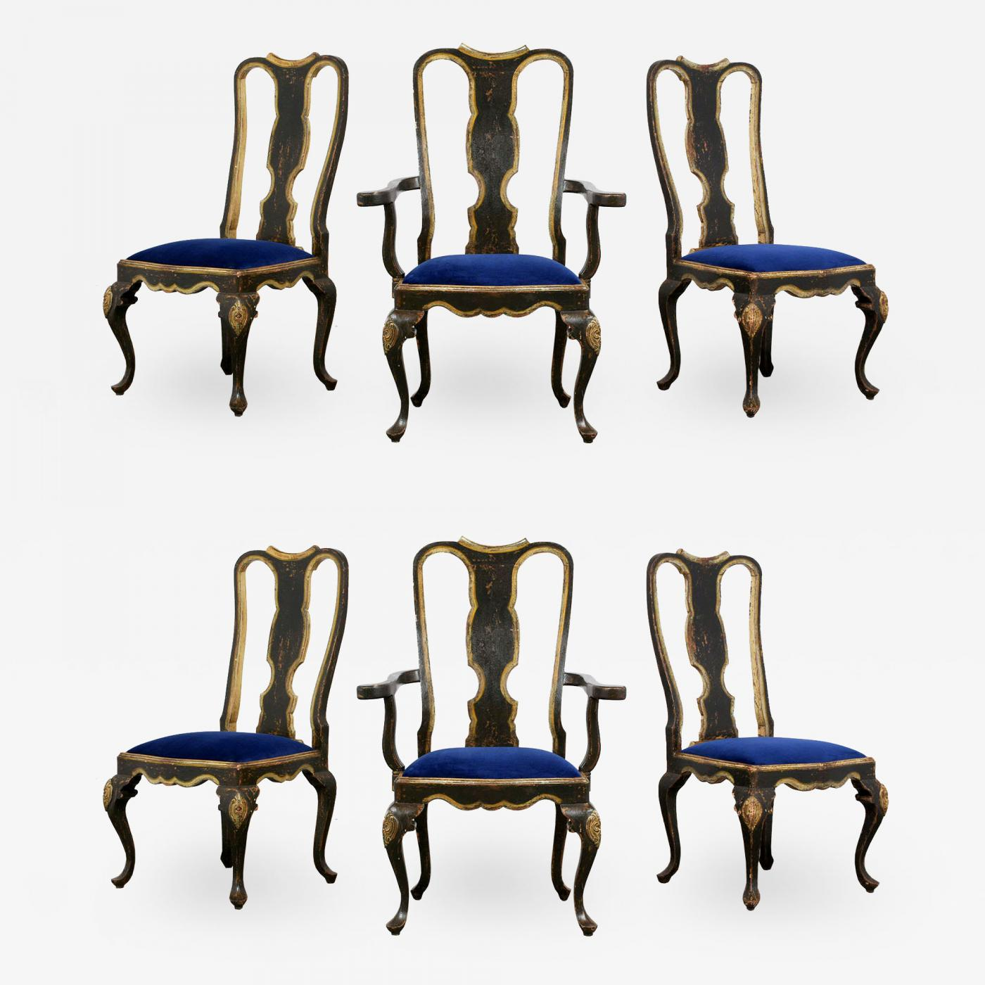 queen anne style chair havana flair single person hammock swing hand painted portuguese s set of six dining chairs listings furniture seating upholstered portugueses