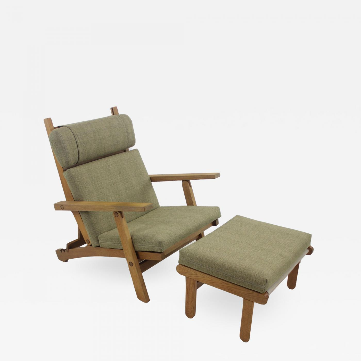 Chairs With Ottoman Hans Wegner Scandinavian Modern Oak Frame Lounge Chair Ottoman Designed By Hans Wegner
