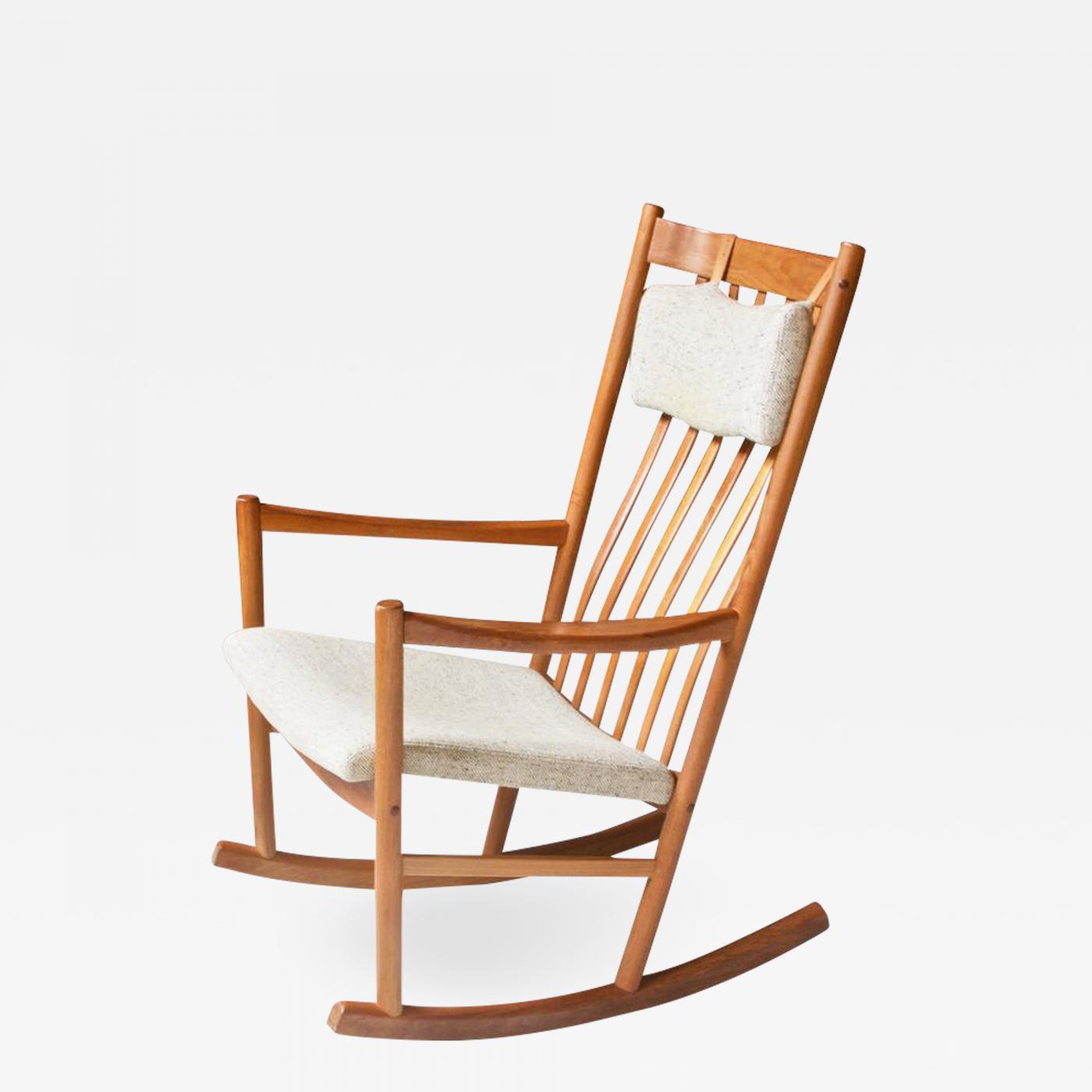 hans wegner rocking chair oak kitchen chairs uk vintage for tarm stole teak and wool 1960s