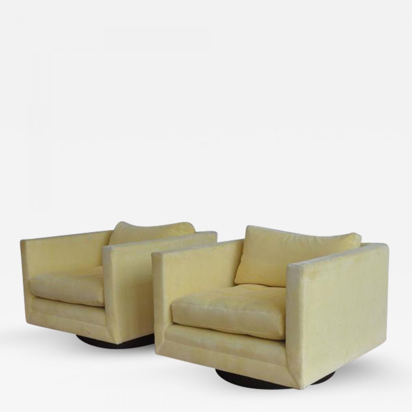 Cube Chairs Harvey Probber Pair Of Harvey Probber Swivel Cube Chairs