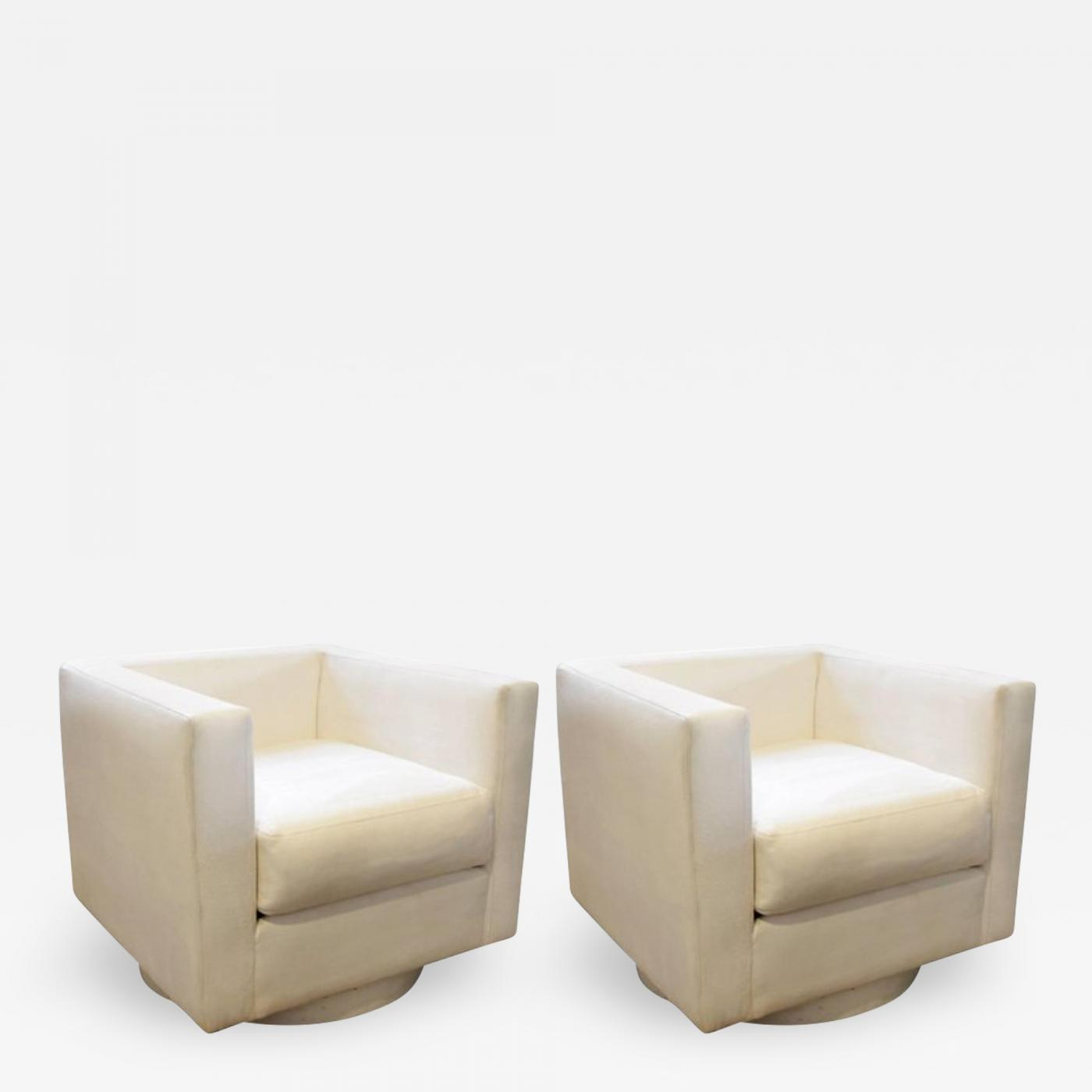 Upholstered Swivel Chairs Harvey Probber Set Of Two White Upholstered Tuxedo Swivel Chairs By Harvey Probber
