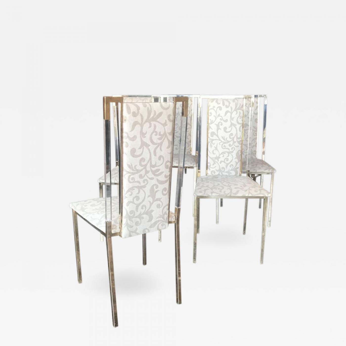 Plexiglass Chairs Italian 1960s Set Of Six Chairs In Brass And Plexiglass