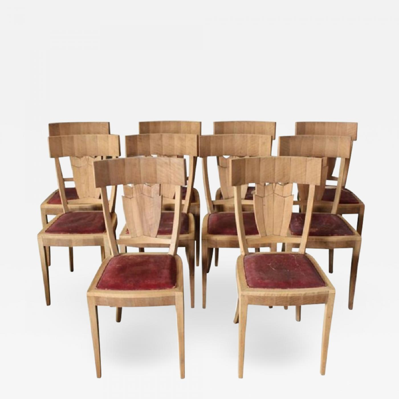 Art Deco Dining Chairs Jean Charles Moreux Rare Set Of Ten French Art Deco Walnut Dining Chairs By Jean Charles Moreux