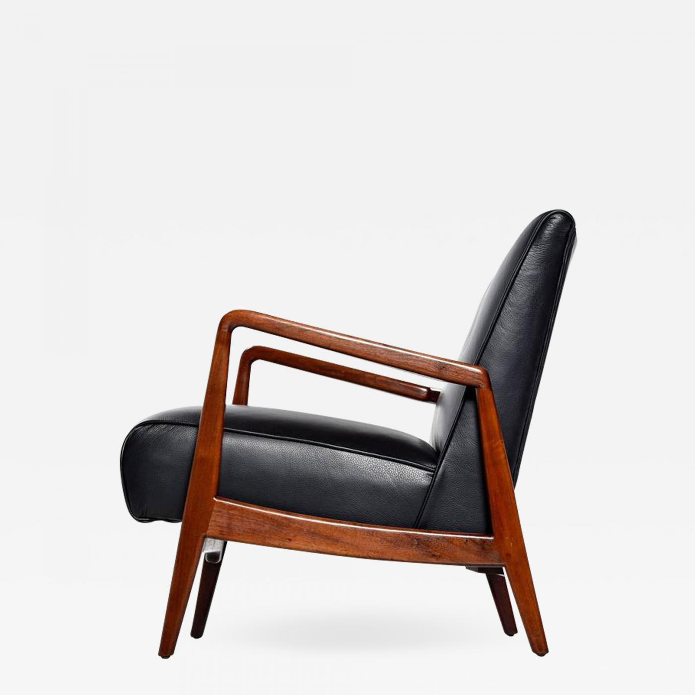 Black Leather Lounge Chair Jens Risom Jens Risom Danish Walnut Tufted Black Leather Lounge Chair 1950s